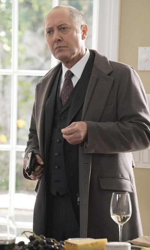 James Spader with Loro Piana Martingala Cashmere Coat in The Blacklist