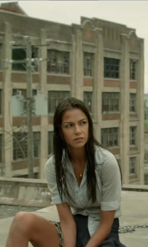 Catalina Denis with Ted Baker Hadija Fitted Button Down Shirt in Brick Mansions