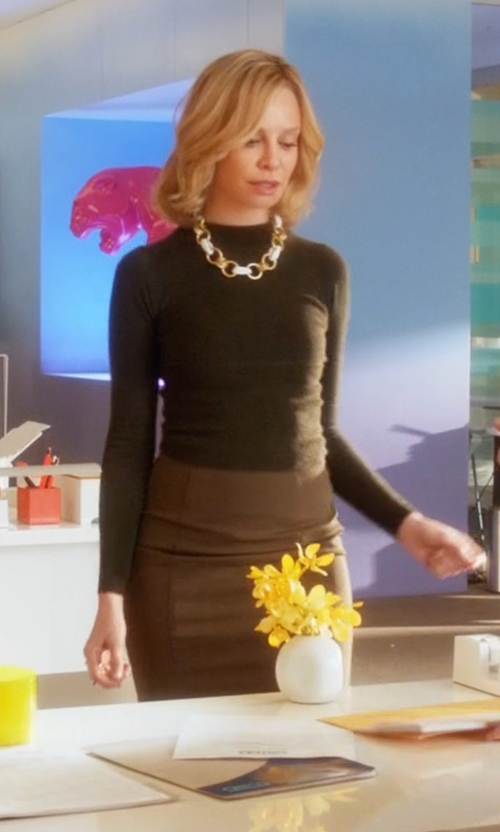 Calista Flockhart with Dsquared² Pencil Skirt in Supergirl