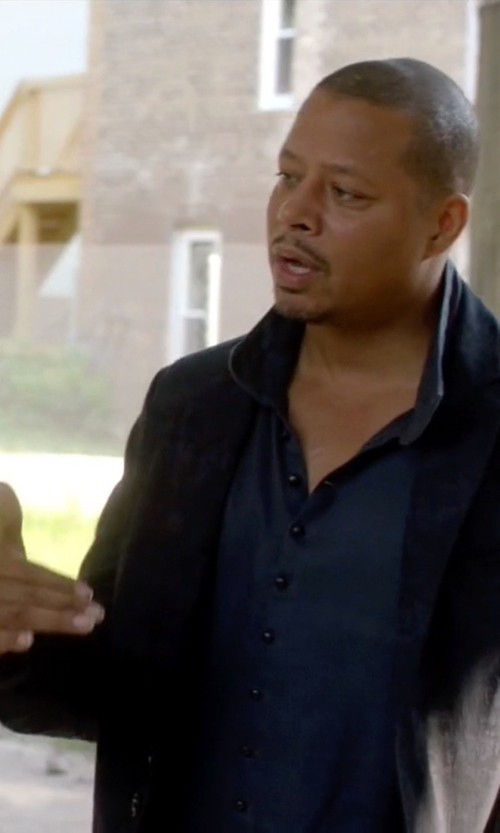 Terrence Howard  with Tom Ford	 Button-Down Collar Solid Shirt in Empire