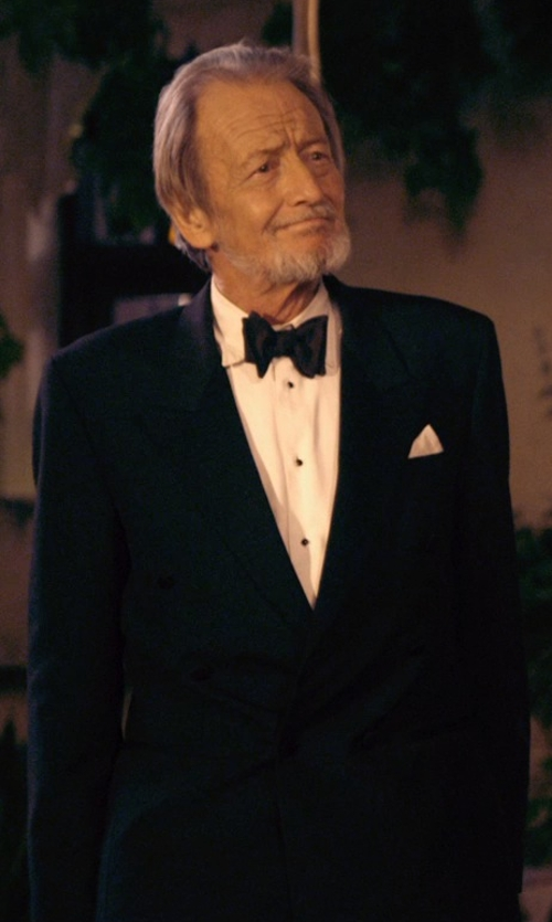 Ronald Pickup with Ralph Lauren Peak-Lapel Flat-Front Tuxedo Suit in The Second Best Exotic Marigold Hotel