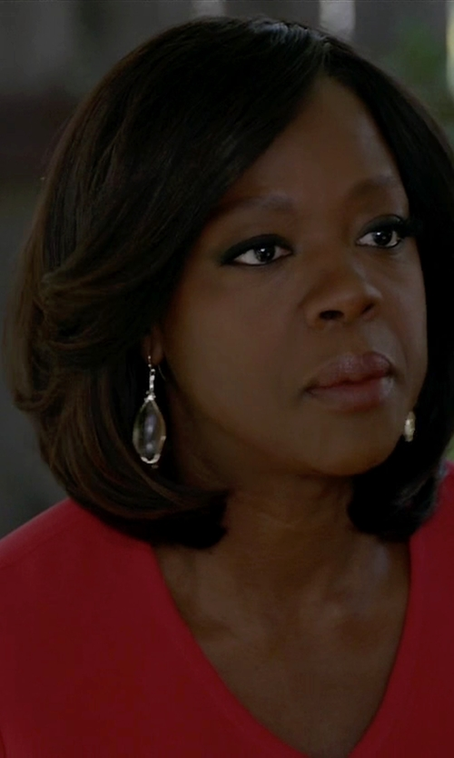 Viola Davis with Anthony Camargo   Amethyst, Labradorite & Gold Drop Earrings in How To Get Away With Murder