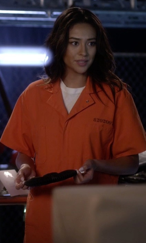 Shay Mitchell with Px:Direct Jail Products Inmate Jumpsuit in Pretty Little Liars