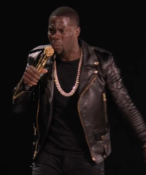 Kevin Hart with Saint Laurent Leather Moto Jacket in Kevin Hart: What Now?