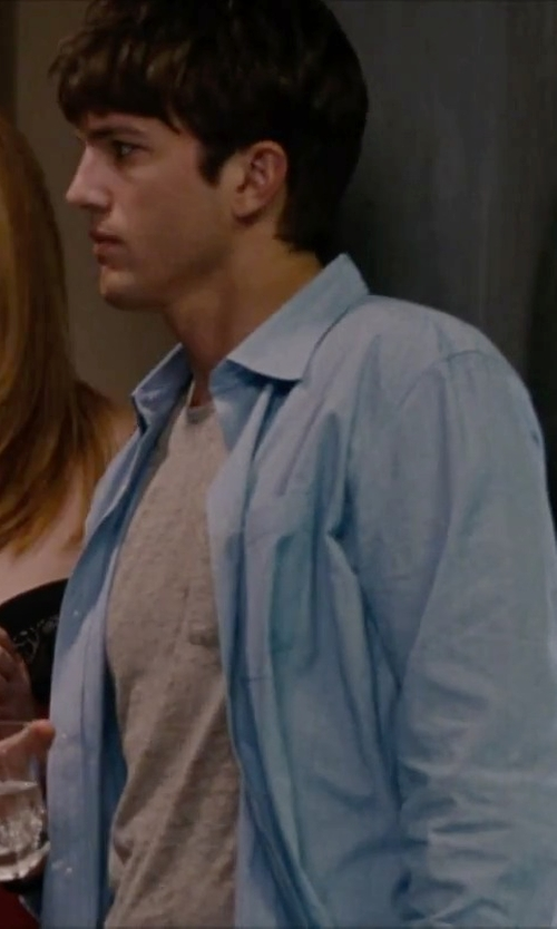 Ashton Kutcher with Ike Behar Long-Sleeve Striped Poplin Dress Shirt in No Strings Attached