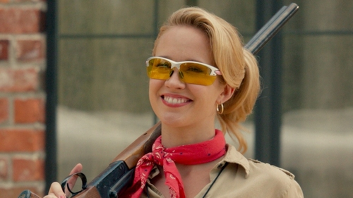 Anna Camp with Remington T-72 Shooting Glasses in Pitch Perfect 2