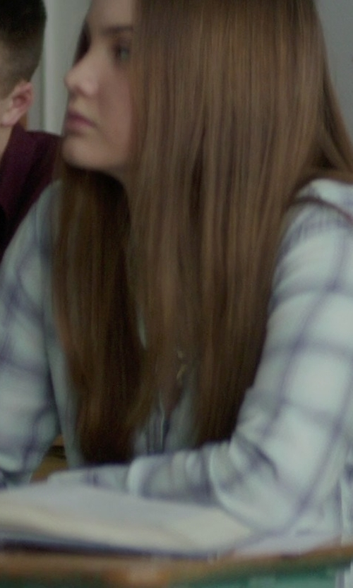 Liana Liberato with Frank & Eileen Barry Long-Sleeve Windowpane-Print Blouse in If I Stay