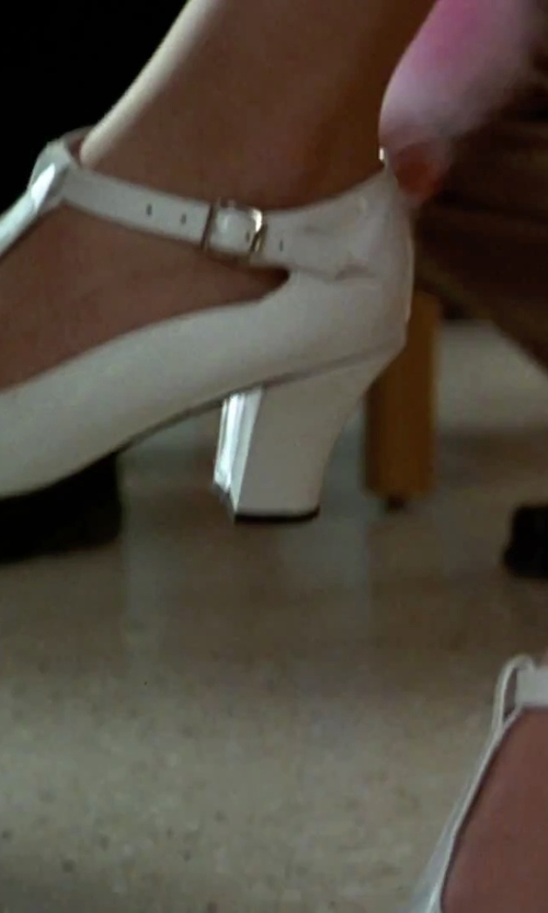 Alicia Silverstone with Unique Vintage White T-Strap Mary Jane Kitten Heels in Clueless