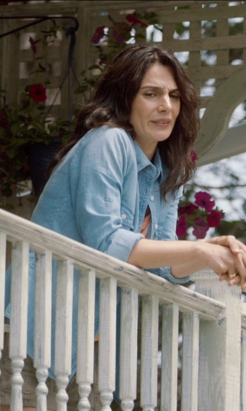 Mina Mirkhah with Rails Exclusive Antique Wash Denim Shirt in And So It Goes