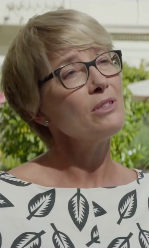 Emma Thompson with Msgm Printed Blouse in Burnt