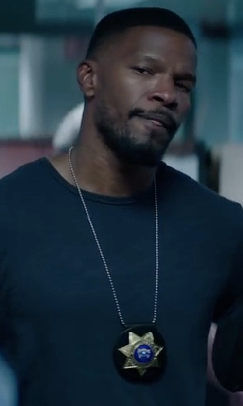Jamie Foxx with Theory Solid Crewneck Tee Shirt in Sleepless