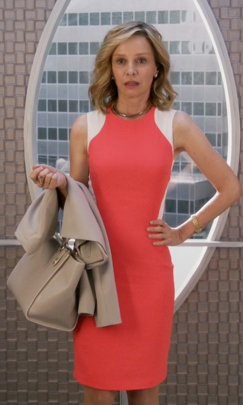Calista Flockhart with Stella McCartney Contour-Colorblock Sheath Dress in Supergirl
