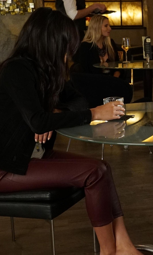 Shay Mitchell with Haute Hippie Low-Rise Leather Skinny Pants in Pretty Little Liars