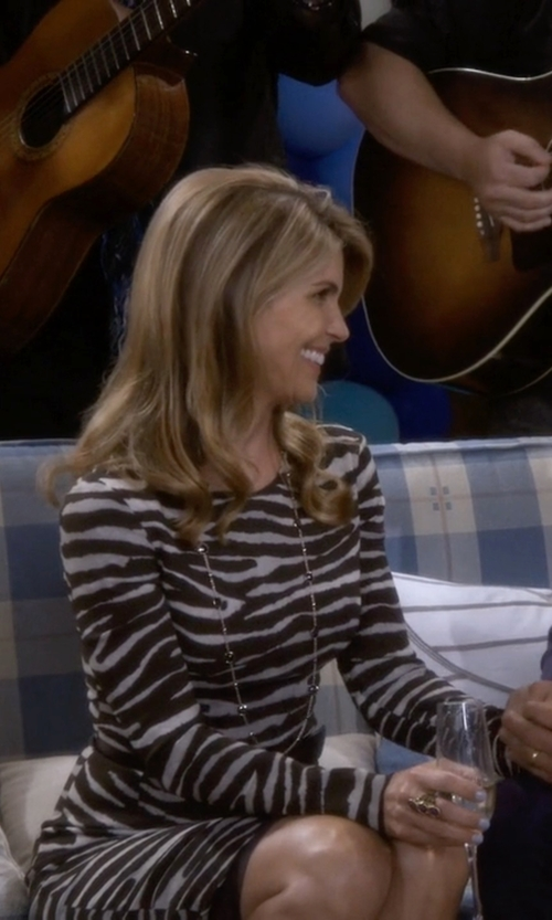 Lori Loughlin with Michael Kors Zebra Print Dress in Fuller House