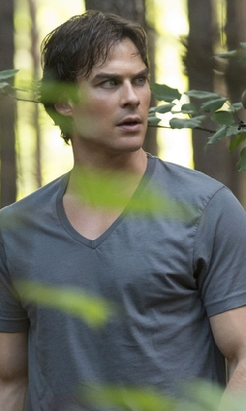 Ian Somerhalder with Splendid Pigment V-Neck Tee in The Vampire Diaries