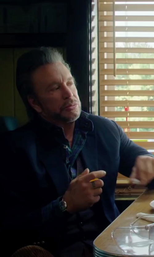 Mickey Rourke with Emporio Armani Round Chronograph Leather Strap Watch in Ashby