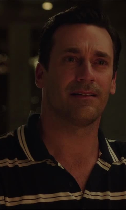 Jon Hamm with St Andrews Double Bar Stripe Pique Polo in Million Dollar Arm