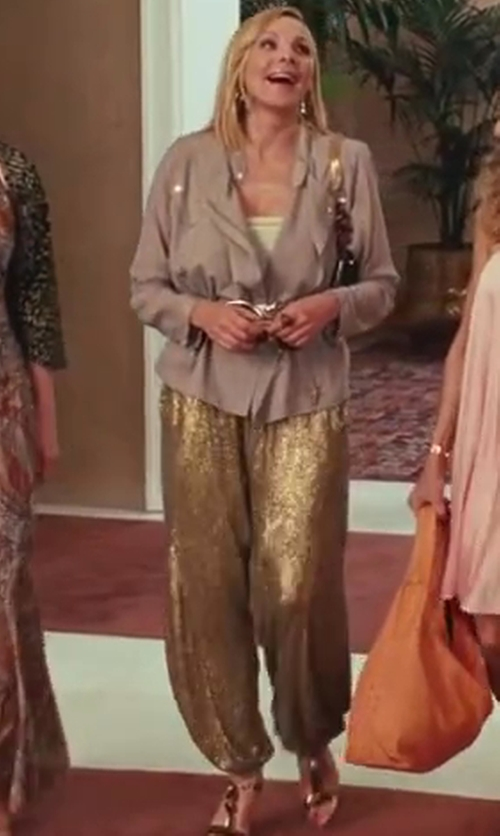Kim Cattrall with Ralph Lauren Gold Sequin Harem Trouser Pants in Sex and the City 2