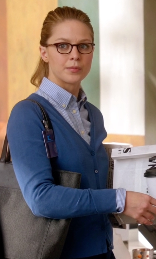 Melissa Benoist with Hayden  Dungarees Cashmere V-Neck Cardigan in Supergirl