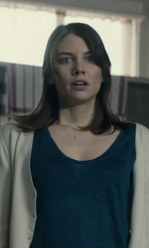 Lauren Cohan with Uniqlo Women Cashmere V Neck Cardigan in The Boy