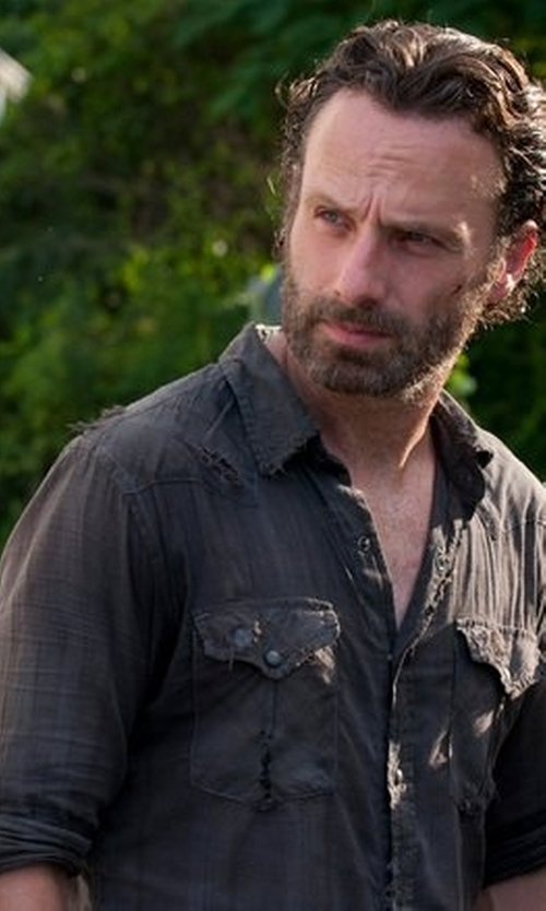 Andrew Lincoln with RVCA Long Sleeve Button Down Shirt in The Walking Dead