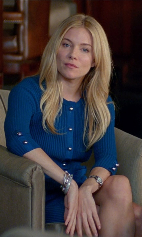 Sienna Miller with Movado Museum Diamond Dial Bracelet Watch in Unfinished Business