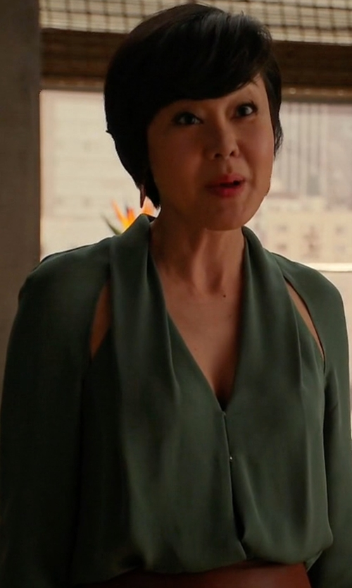 Yunjin Kim with Michelle Mason Slit Blouse in Mistresses