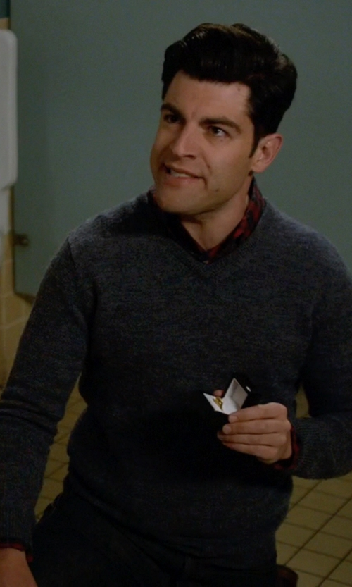 Max Greenfield with Roberto Collina V Neck Sweater in New Girl