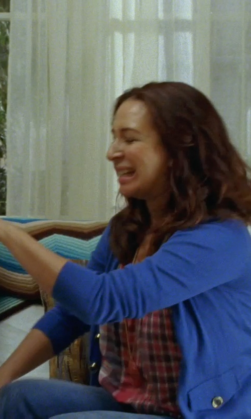 Maya Rudolph with Moon River Chiffon Sheer Floral Plaid High Low Tank Top in Bridesmaids