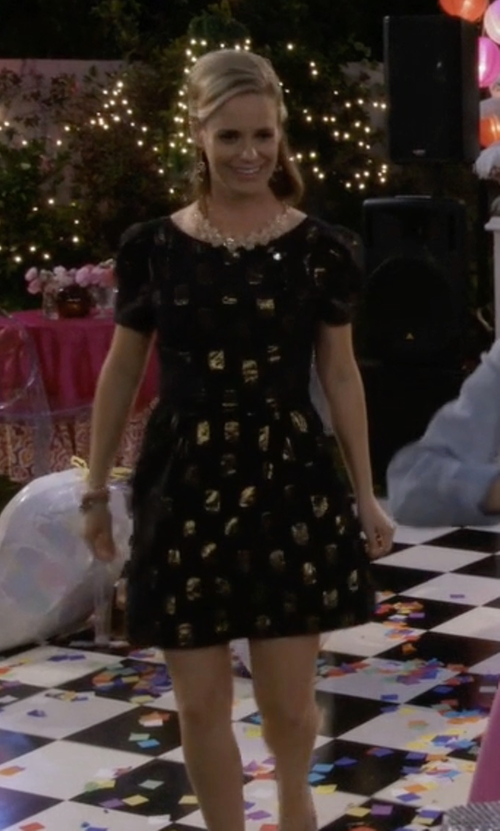 Andrea Barber with Marc by Marc Jacobs Jacquard Short-Sleeve Dress in Fuller House