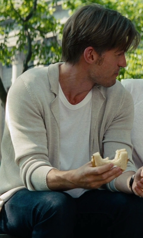 Nikolaj Coster-Waldau with Bottega Veneta Ribbed-Knit Shawl Collar Cardigan in The Other Woman