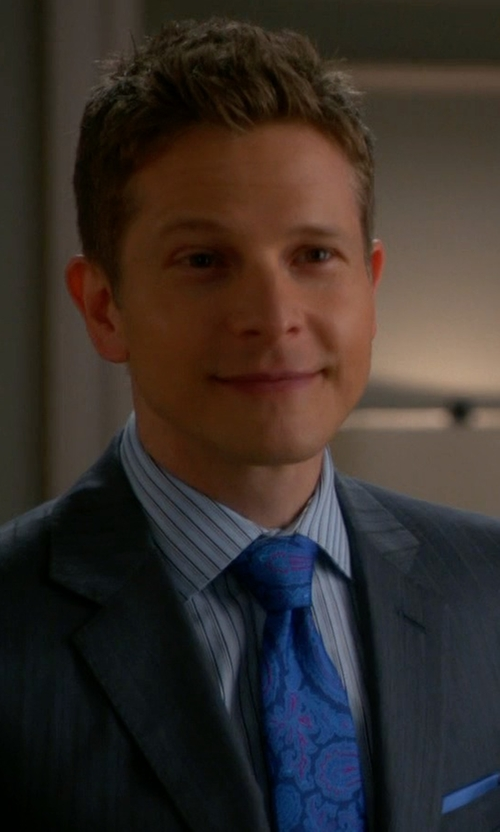 Matt Czuchry with Ermenegildo Zegna	 Woven Bold Stripe Dress Shirt in The Good Wife