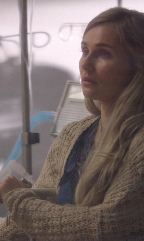 Clare Bowen with Dondup Wool Knit Cardigan in Nashville