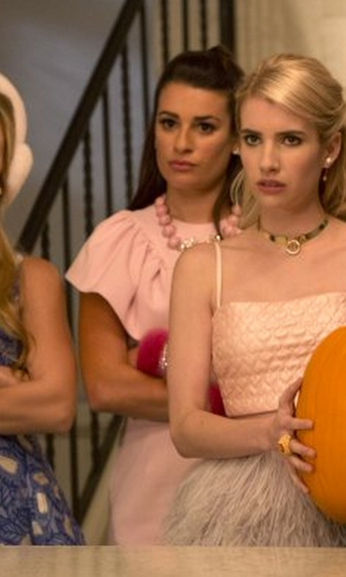 Lea Michele with Shourouk Marble Necklace in Scream Queens