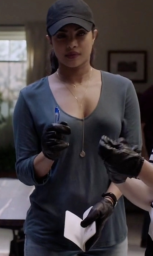 Priyanka Chopra with Theory Jehane Stretch-Knit V-Neck Top in Quantico
