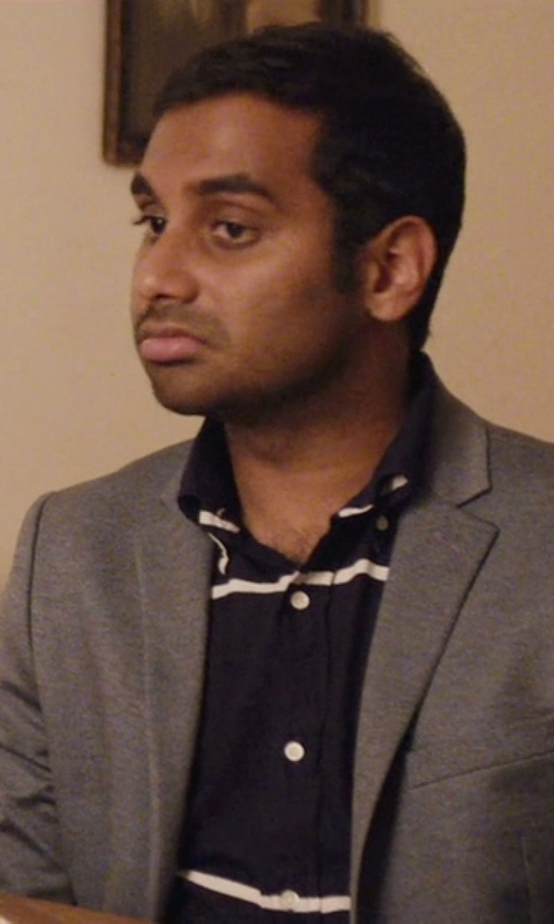 Aziz Ansari with Lacoste Stripe Slim Fit Button Down Shirt in Master of None