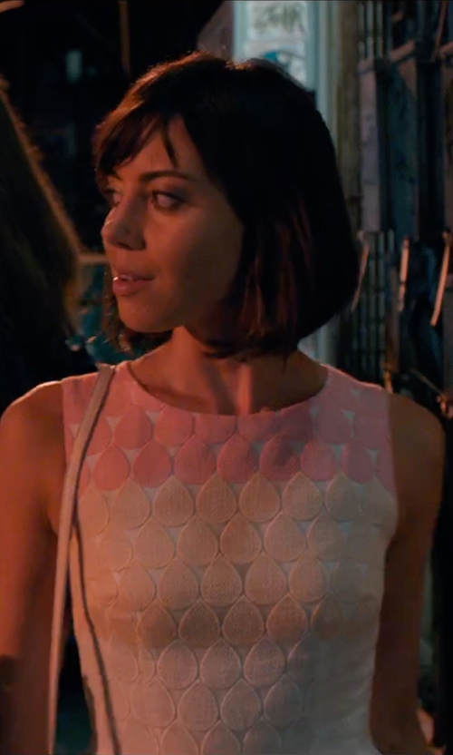 Aubrey Plaza with Betsey Johnson Stripe Embroidered Fit & Flare Dress in Mike and Dave Need Wedding Dates