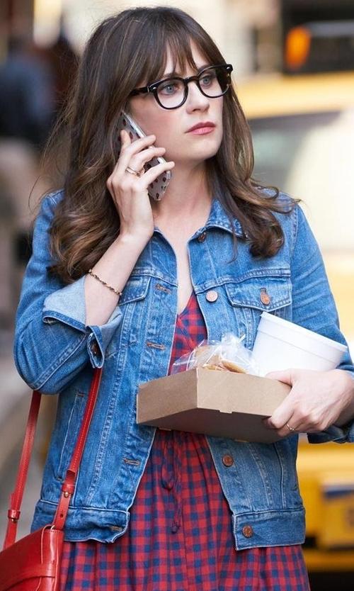 Zooey Deschanel with Paige Rowan Denim Jacket in New Girl