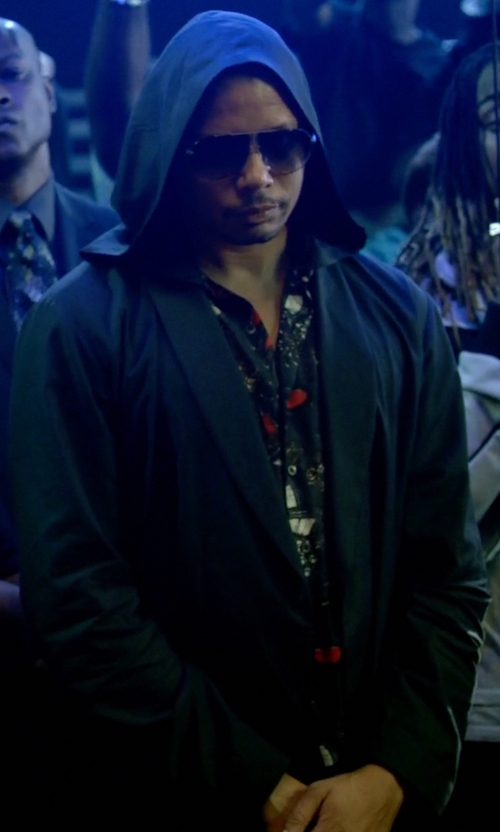 Terrence Howard  with Hood by Air Men's Detachable-Placket Two-Button Sportcoat-Black in Empire
