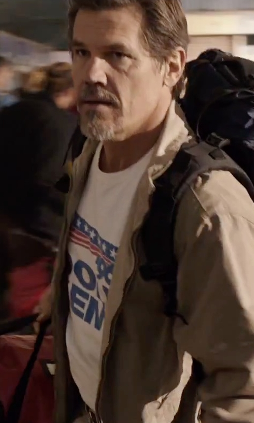 Josh Brolin with CafePress Dole Kemp Ash Grey Light T-Shirt in Everest