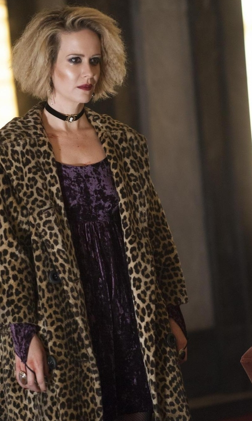 Sarah Paulson with Byblos Two Tone Pattern Short Dress in American Horror Story
