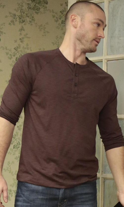 Jake McLaughlin with The Kooples Solid Long Sleeve T-Shirt in Quantico