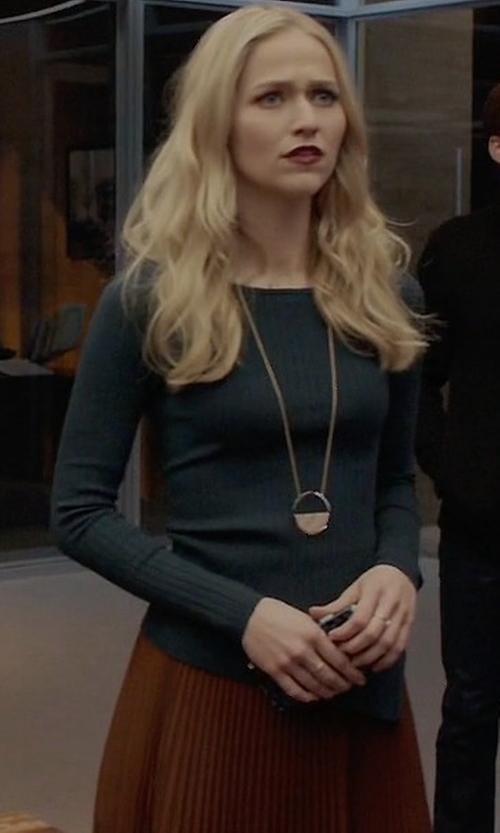 Johanna Braddy with A.L.C. Sofia Asymmetric Pleated Midi Skirt in Quantico