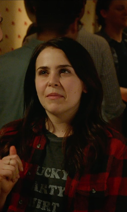 Mae Whitman with TooLoud Happy Holla Days Text T-Shirt in The DUFF