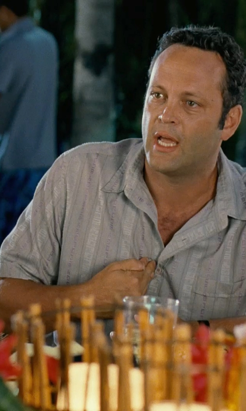 Vince Vaughn with O'Neill Keppler Pinstriped Shirt in Couple's Retreat