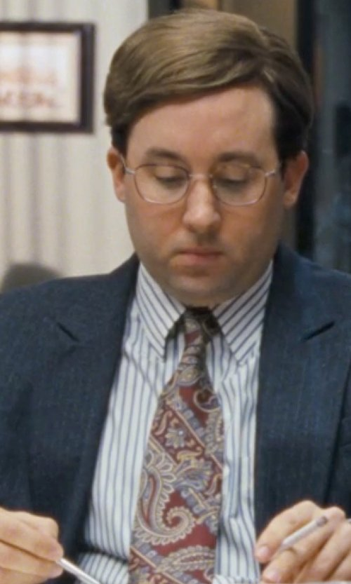 P.J. Byrne with Valentino Striped Cotton Dress Shirt/Classic-Fit in The Wolf of Wall Street