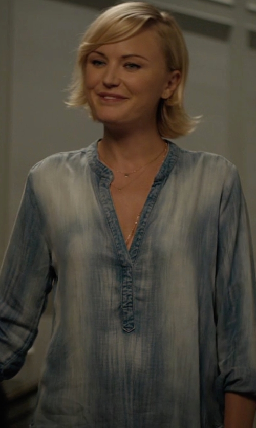 Malin Akerman with Intro Split Neck Roll-Tab Tunic Top in Billions