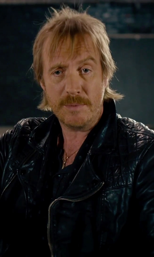 Rhys Ifans with Barneys New York Quilted Leather Bomber Jacket in She's Funny That Way