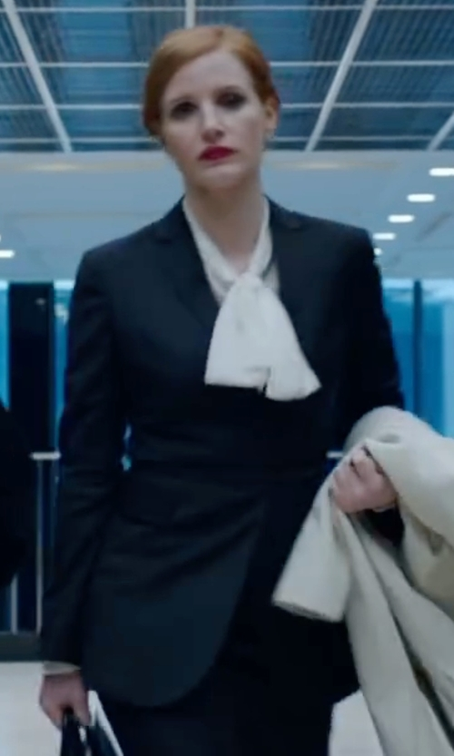 Jessica Chastain with DKNY Striped Wool-Blend Jacket in Miss Sloane