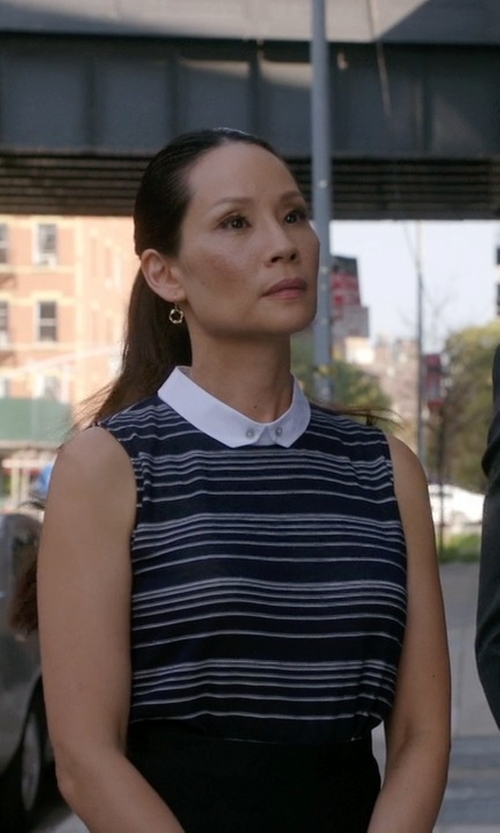 Lucy Liu with O'2nd Sheer Sleeveless Striped Collar Shirt in Elementary